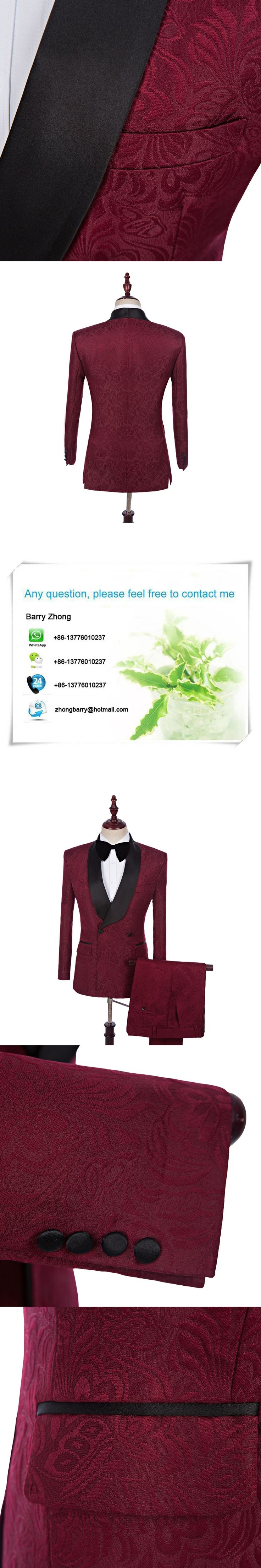 HB012 Tuxedos Jacket Wine Red Jacket Wedding Suits For Men Custom Made Maroon Prom Dress Men Suit (Coat+Pants) Double Breasted
