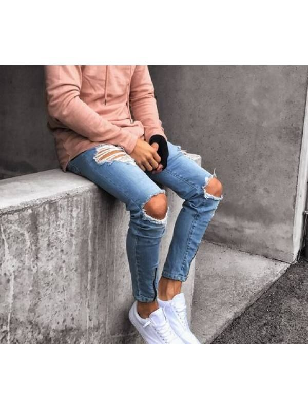 Ripped Jeans Outfit, Ripped Jeans Men, Ripped Skinny Jeans, Casual Jeans, Jeans Pants, Biker Jeans, Denim Jeans, Denim Joggers Mens, Hip Hop Jeans
