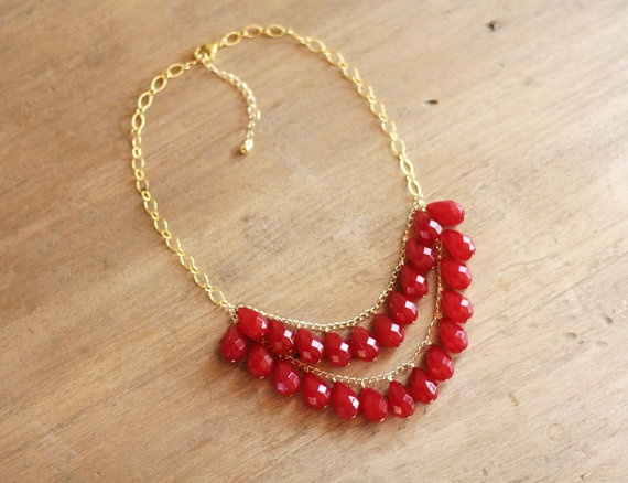 Raspberry Red Teardrop Statement Necklace by ShopNestled on Etsy