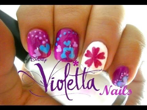 Uñas de Violetta DISNEY - Easy Disney Violetta Nails - YouTube