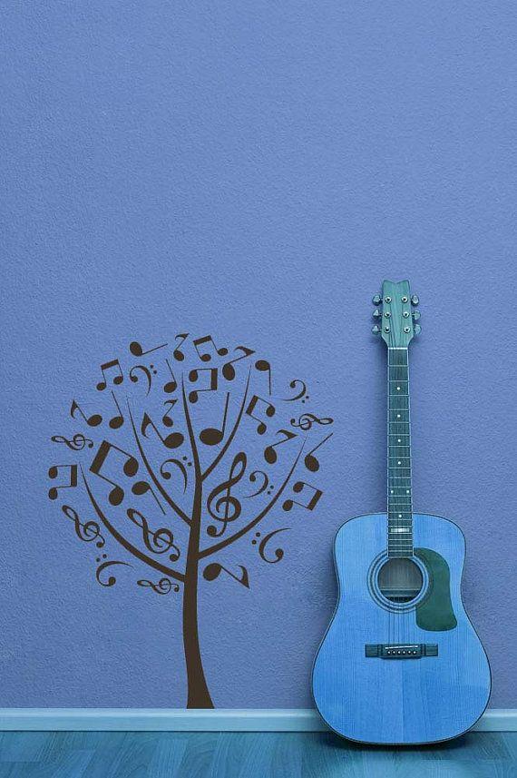 Tree of Music Notes, Treble and Bass Clefs - Decal, Sticker, Vinyl, Wall, Home, Studio, Dorm Decor.. $32.00, via Etsy.