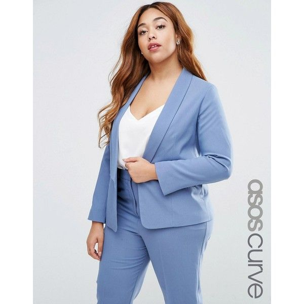 ASOS CURVE Blazer In Crepe With Slim Lapel ($37) ❤ liked on Polyvore featuring outerwear, jackets, blazers, grey, plus size, plus size shawl, open front blazer, slim fit blazer, gray jacket and grey blazer