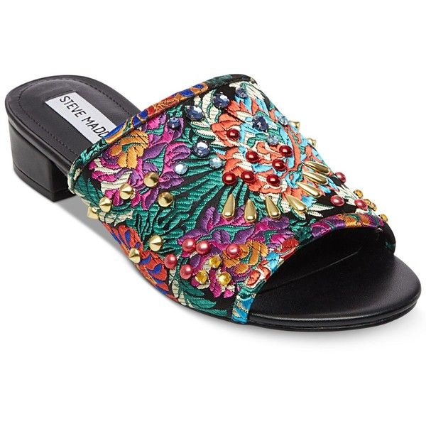 Steve Madden Women's Briele Brocade Slides (200 PEN) ❤ liked on Polyvore featuring shoes, sandals, brocade, multi color sandals, multi coloured sandals, print shoes, steve madden shoes and colorful sandals