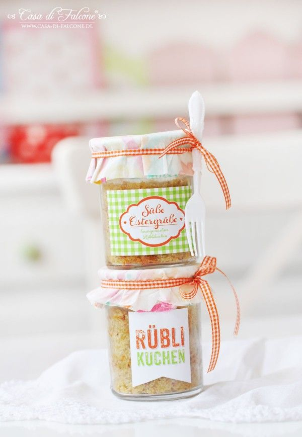 Rüblikuchen im Glas I Karottenkuchen I Osterbäckerei I Ostermitbringsel I Verpackungsidee I Casa di Falcone