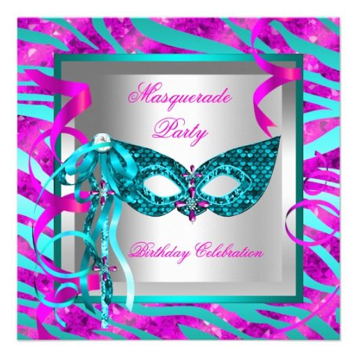 Masquerade Teal Blue Zebra Pink Birthday Party 2 Card