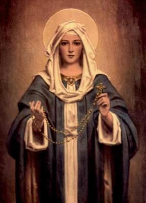 Hail Mary full of Grace the Lord is with thee,  Blessed art thou among women and blessed is the fruit of thy womb Jesus.   Holy Mary Mother of God pray for us sinners now and at the hour of our death.  ~~ Amen~~  Our Lady of Fatima requests that we pray the rosary daily~