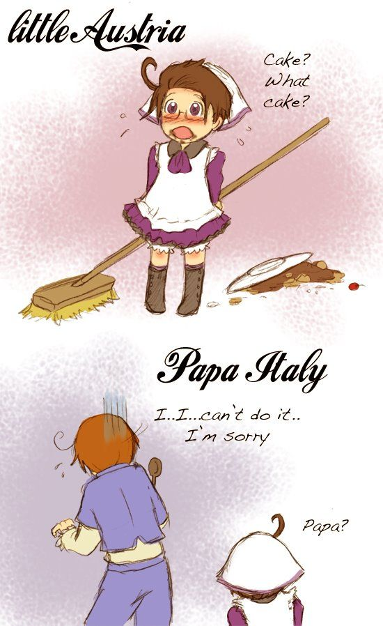 Hetalia role-reversal - Little Austria and Papa Italy