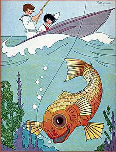 'Riding in a Hydroplane' from Rimskittle's Book by Leroy F. Jackson, illustrated by Ruth Caroline Eger, 1926
