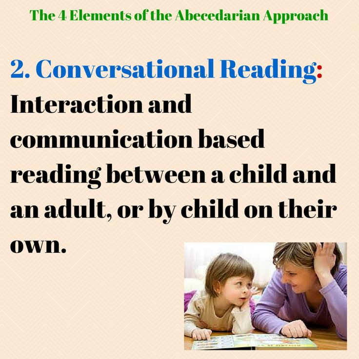 The second element to the Abecedarian Approach is based on the way children and their parents interact when reading together (Sparling, 2010). It is act of reading and exploring books together through back and forth conversation and questioning. As so, the young children taking part become more active in the reading, instead of just being read to.Generally, children between the age of 0-3 are read to everyday in one-to-one with the adult, and ages 4-6 read everyday in groups