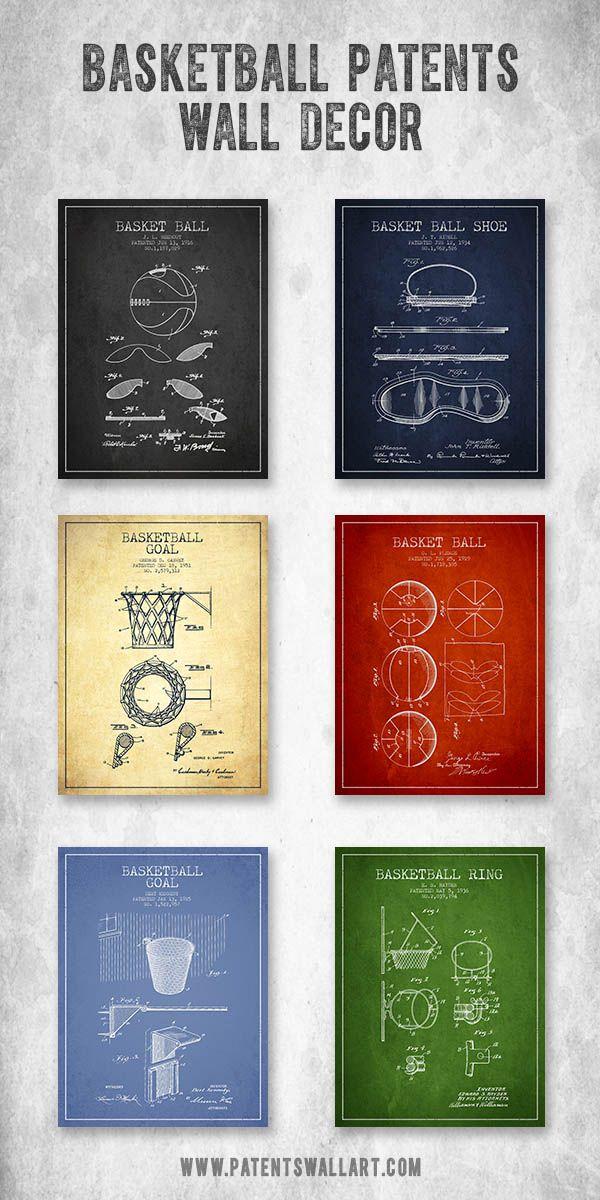Collection of vintage basketball patent wall art decor, gift ideas. #basketball #decor #wallart #interiordesign