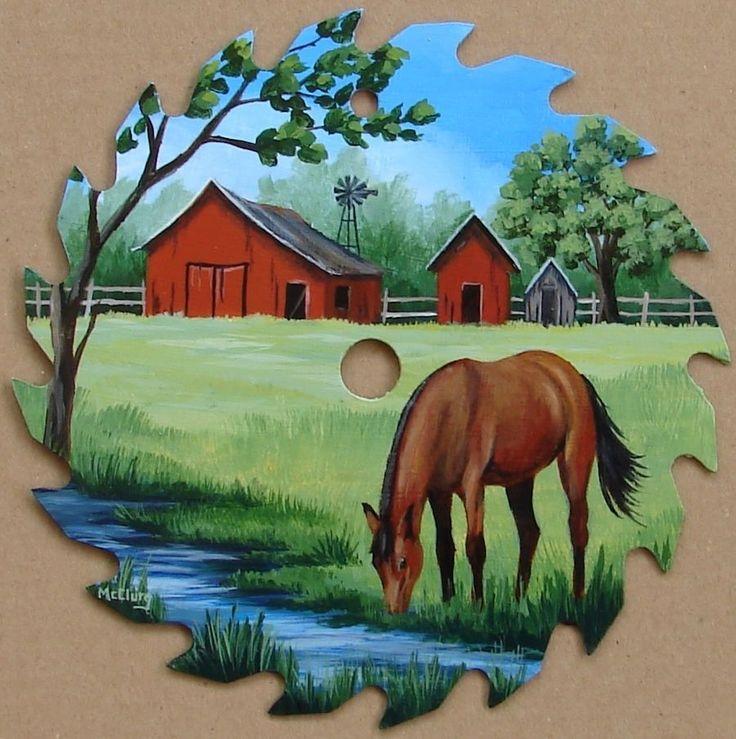 Hand Painted Saw Blade Horse Stream Barn Farm Landscape Cabin Decor Folk Art