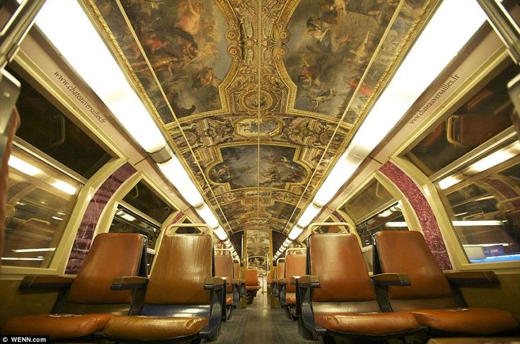 Paris commuter train carriage transformed to resemble rooms from the Palace of Versailles