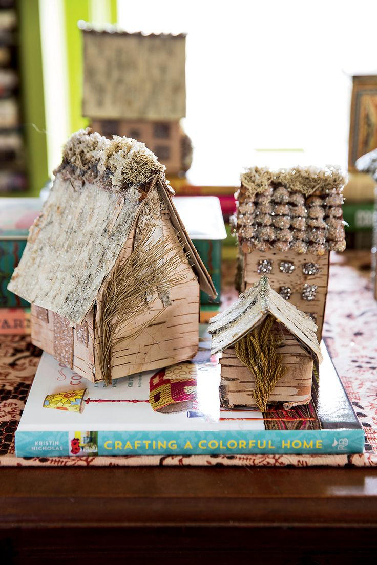 Make birchbark houses using items found almost entirely in the woods (except glue, glitter, and cardboard).  Photo: Joe Keller