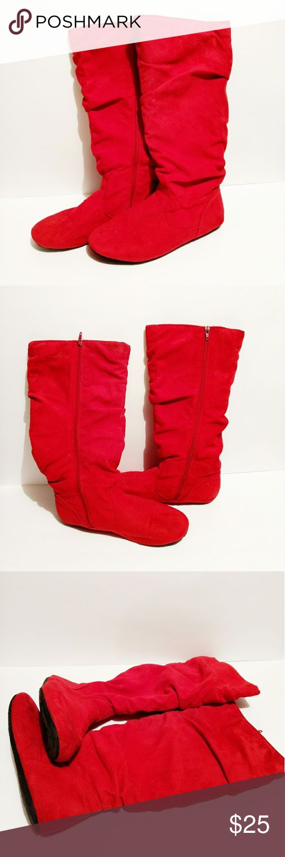 Cute Red Zip Up Boots Good Condition Red Zip Up Boots One of the boots the sole is messed up but nothing is wrong on the outside of either boot. Bought at Shoe Show Shoes Winter & Rain Boots
