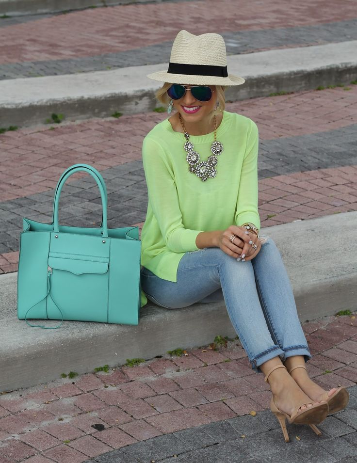 Get the look with CAbi spring15 Split back pullover and LaJolla Crops, statement necklace, nude sandal, & cute fedora