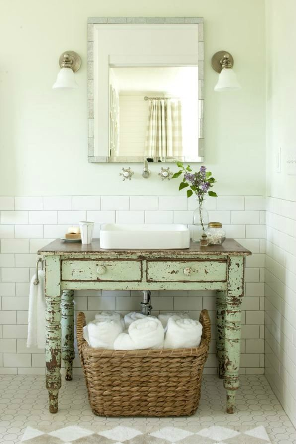113 best Country Shabby Chic Bathroom images on Pinterest Room - shabby chic bathroom ideas