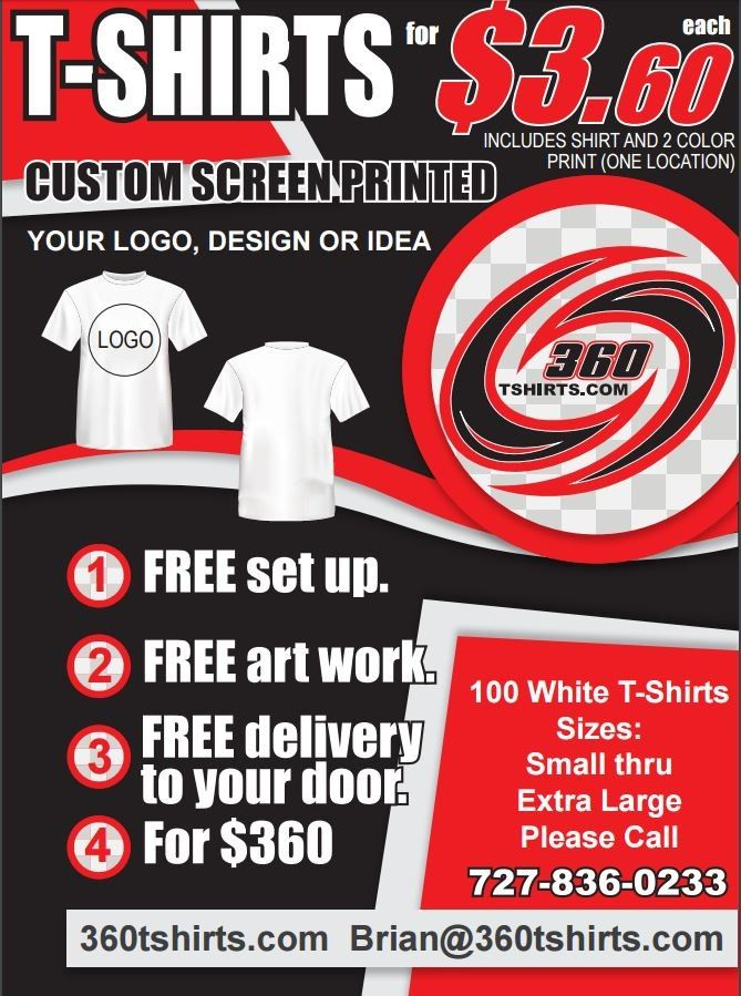 100 WHITE T-SHIRTS S-XL 2 COLOR PRINT DELIVERED TO YOUR DOOR $360.00