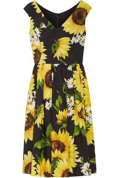 Dolce & Gabbana - Floral-print Cotton-poplin Dress - Yellow