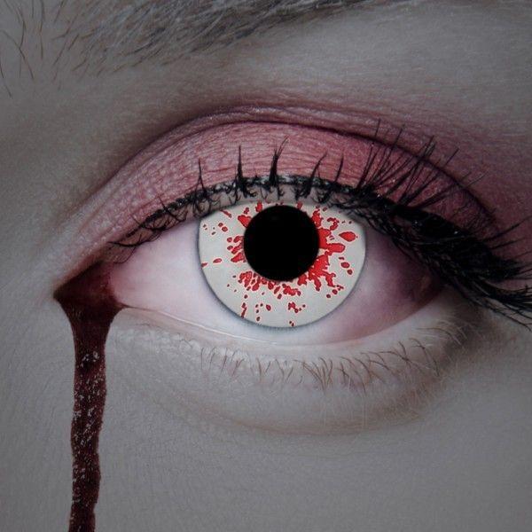 Blut Kontaktlinsen, Farblinsen weiß mit Blutspritzern, Zombielinsen