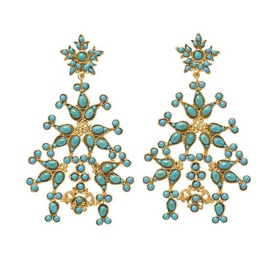 Sabina Earrings Gold & Turquoise