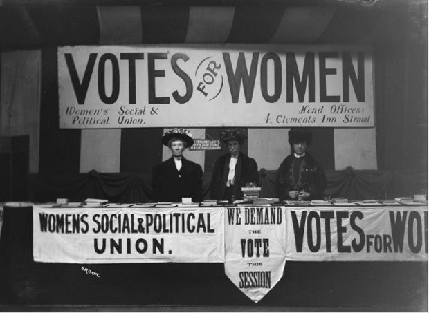 Soldiers in petticoats: The Women's Social and Political union stand, probably at Caxton Hall, London, during the women's parliament, February 1908