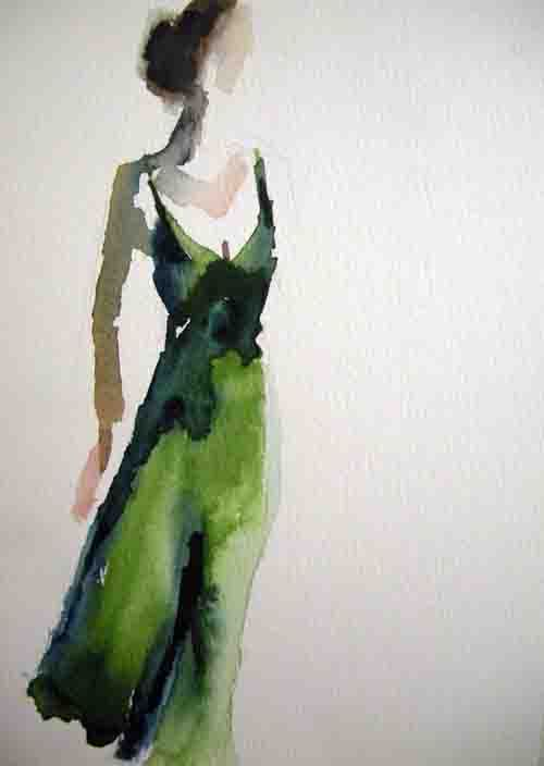 Green dress water color