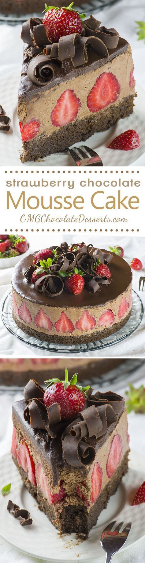 strawberry chocolate mousse cake~ pretty with strawberries inside and chocolate curls on top.