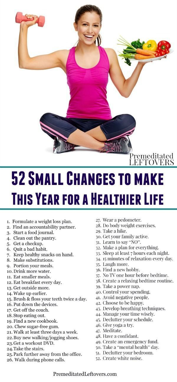 Resolve to live a healthier life, but not sure where to start? Here are 52 Small Changes for Living a Healthy Life including ideas for healthy eating, exercise, and actions you can take to reduce stress to help you identify actionable fitness, exercise, workout, and diet changes to help you meet your goals.