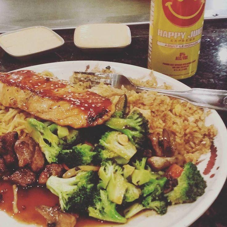 #Salmon#Steak#Vegetables#Rice........Washing it down with a Little #AdultLemonade...#Roadlife...#WestVirginia#BigBusinessMeetingtoday...#Carolinaglobal...@GetHappyjuice by nxt24