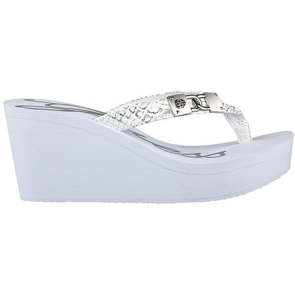 GUESS Sahari Wedge Flip-Flops ($39) ❤ liked on Polyvore featuring shoes, sandals, flip flops, white, white sandals, white flip flops, guess footwear, wedge heel sandals and white wedge heel shoes