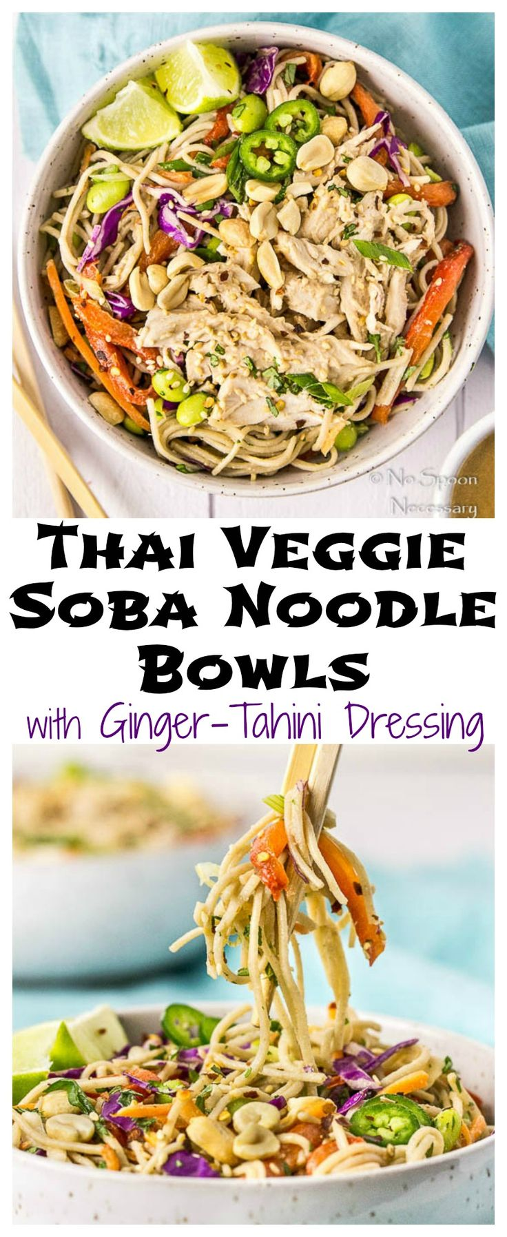 Thai Veggie Soba Noodle Bowls with Ginger-Tahini Dressing.  Ready in 30 minutes or less!
