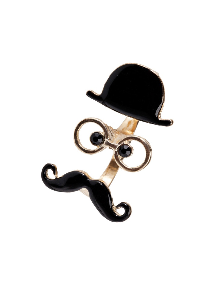Bowler hat and moustache ring