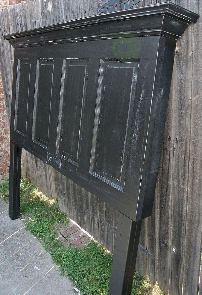 (12) Hometalk :: Onyx Black and Chelsea Gray Distressed 100 Yr Old Door Headboard
