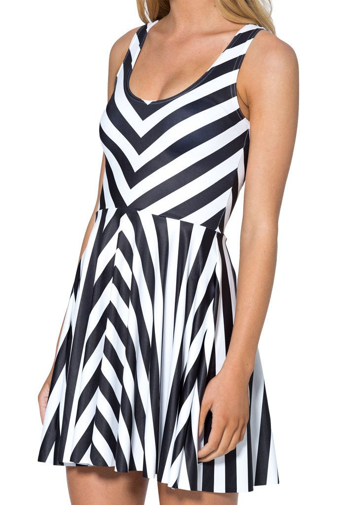 9a09461a43 Tim Burton Beetlejuice Black White Slim Stretchy Pleated Skirt Reversible  Dress