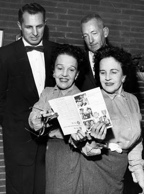 """World renown conjoined twins Violet and Daisy Hilton in Charlotte, NC for the re-release of """"Freaks"""" (1962)"""