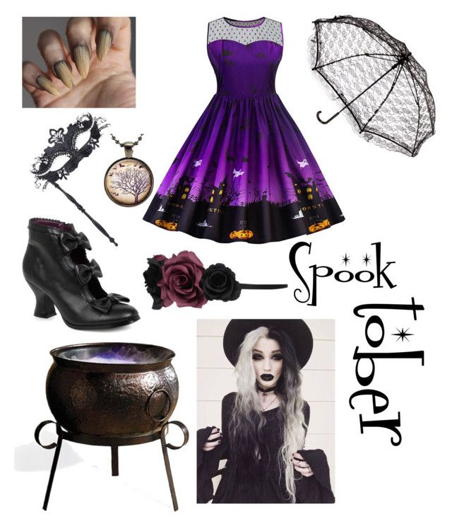 """Spooktober No. 1"" by malumasbaby on Polyvore featuring Mode, Masquerade, Accessorize, Grandin Road und spooktober"