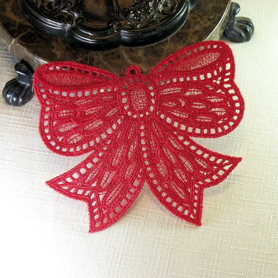 Lace Ornament Bow  Red OR White by QuiltSewCover on Etsy, $6.00Trees Ornaments, Lace Ornaments, Ornaments Bows