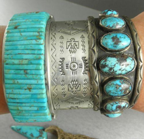 112g Stunning Pete Sierra Angelic Blue Turquoise Corn Row Cuff Bracelet