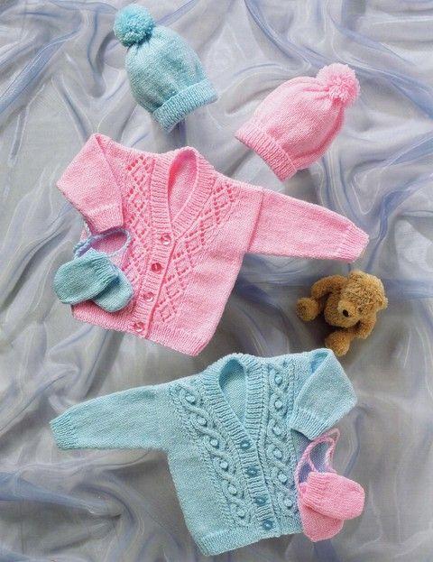 Stylecraft - 8037 - Cardigans, Hat and Mittens (birth to age 3)