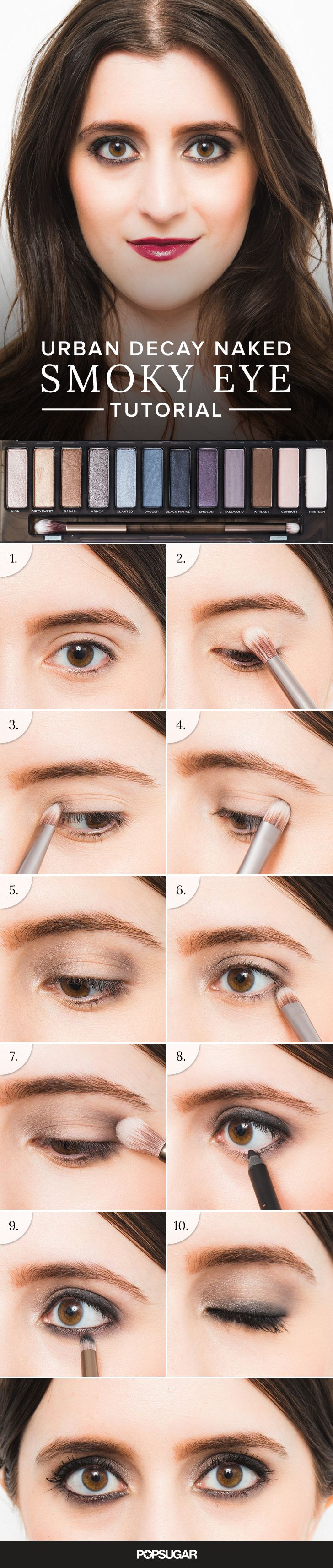 We teamed up with makeup artist Pepper Bass to create the ultimate smoky eye look using only shades in the new Urban Decay Naked palette. Here are a few smoky eye tricks to avoid that dreaded blackout, raccoon look: prime lids, apply a matte base, highlight inner corners, mark the outer corners, blend and smudge!