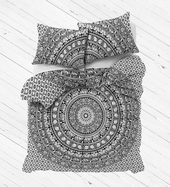 Amazon.com: Madhu International King Size White Black Elephant Mandala Duvet Cover, Indian Reversible Mandala Duvet Cover, Bohemian Bedspread, Mandala Cotton handmade Duvets: Home & Kitchen