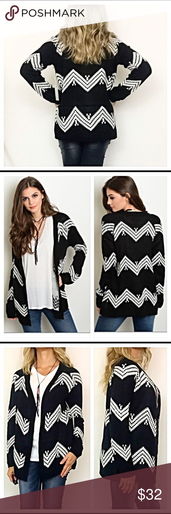 "Chevron sweater cardigan top S M L Really love this chevron zig zag cozy cardigan top in black & white. Slip into comfort & style this season with this open front knit sweater. 100% acrylic. Also available in black & taupe in a separate listing   Small 2/4 Bust 40"" Length 26"" Medium 6/8 Bust 41"" Length 27"" Large 10/12  Bust 42"" Length 28"" Tops"