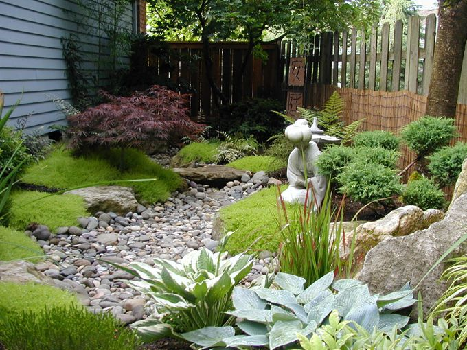 For low areas around a house where water seems to accumulate.... a dry creek bed with moss, plants that need lots of water...