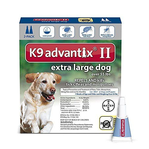 Extra Large Dogs Over Over 55Lb, K9 Advantix Ii Topical Flea & Tick Treatment - Flea, tick and mosquito bites can be very painful for your dog. Worse, those bites may expose your dog to irritation, itching and even deadly diseases. Fleas may cause Flea Allergy Dermatitis (FAD) and if ingested, fleas could cause tapeworms. A bite from an infected tick can transmit diseases, s...