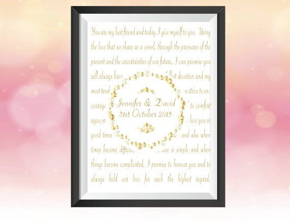 Personalised Wedding Vows Print Keepsake in Gold Foil. Wall Art / Wedding / Reception decoration /Anniversary Gift by GlitzyPrints on Etsy