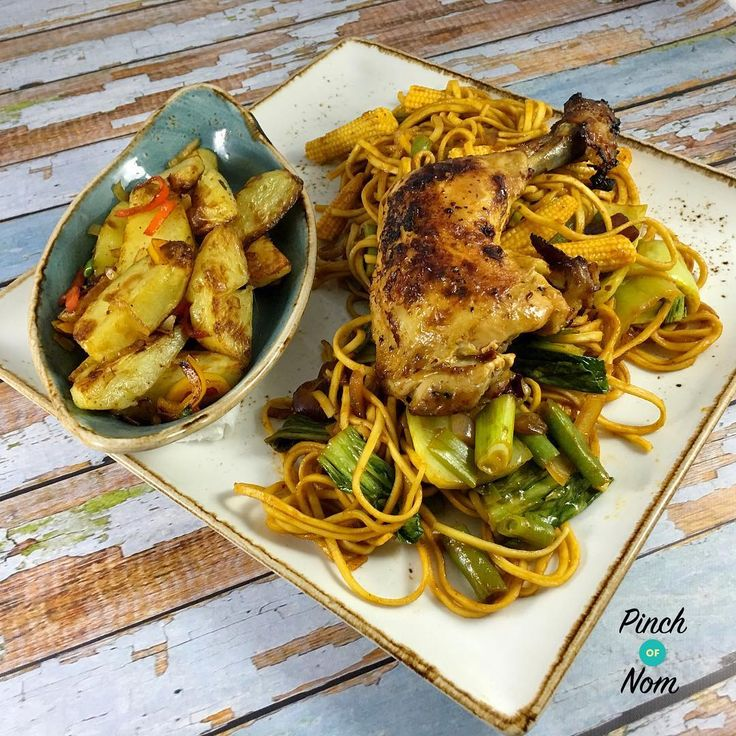 """Pinch Of Nom on Instagram: """"Had this for dinner to celebrate my half stone weight loss this week!! Syn free sticky chilli chicken with noodles and a bowl of Syn free…"""""""