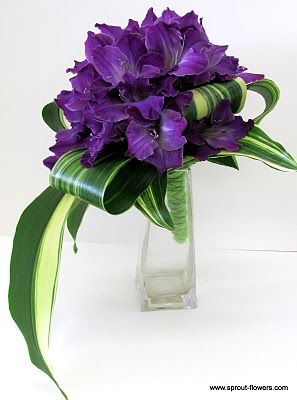 Purple Bouquet A. Gladiola and variegated aspidistra leaves. #purplebouquet