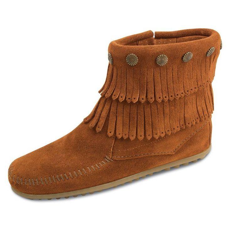 Minnetonka Womens Double Fringe Side Zip Boot Dusty Brown, Women's, Size: 9.5 Boot - 693-DUSTY BROWN-9.5