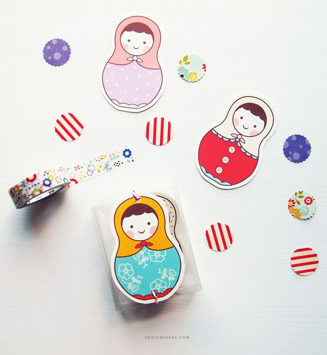 Free printable Matryoshka Gift Tags | Use for matching or quad cutters?