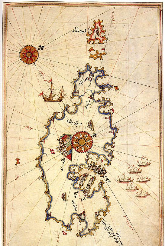 Ottoman Map of Malta, by Piri Reis. The Piri Reis map is a world map compiled in 1513 by the Ottoman admiral and cartographer Piri Reis. It used ten Arab sources, four Indian maps sourced from the Portuguese, and one (lost) map of Columbus. (Naval Museum, Istanbul).